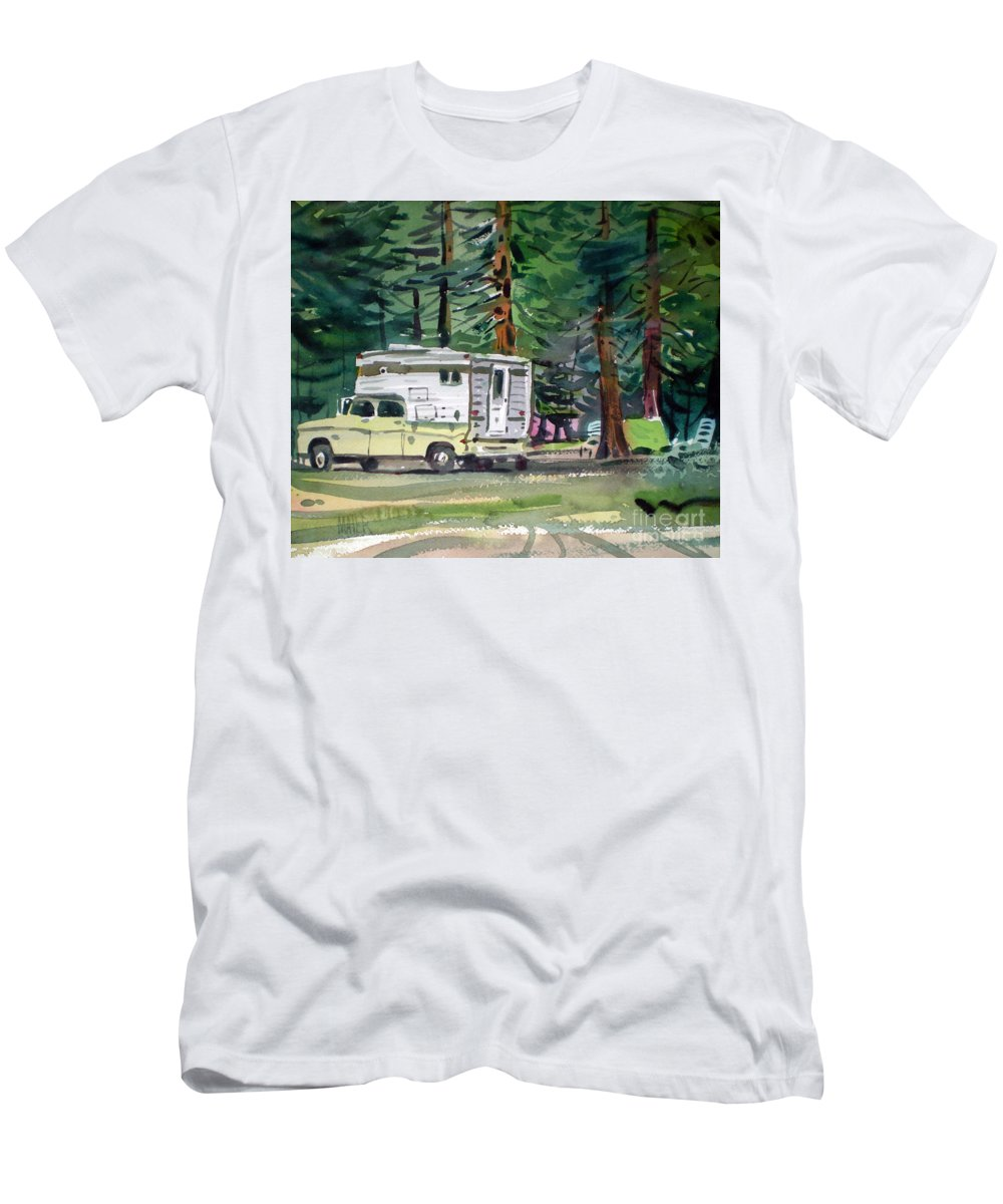 Camping Men's T-Shirt (Athletic Fit) featuring the painting Sierra Campsite by Donald Maier