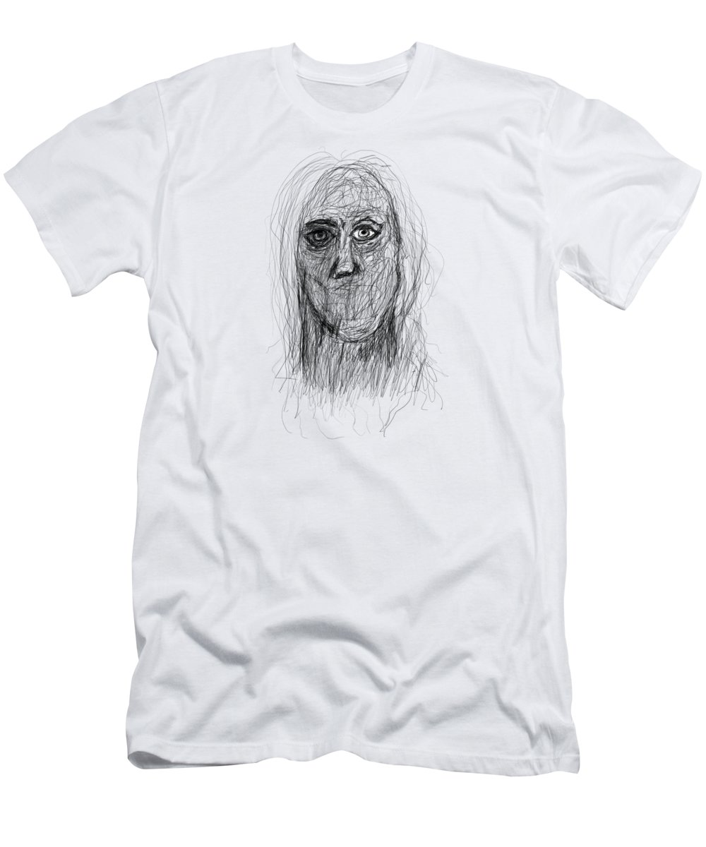 Pencil Drawings Men's T-Shirt (Athletic Fit) featuring the drawing Silenced by Bill Owen