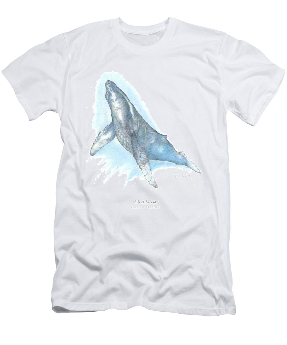 Whale Beneath Surface Men's T-Shirt (Athletic Fit) featuring the drawing Silent Ascent by David Weaver