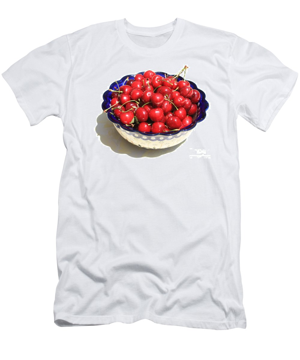 Cherries Men's T-Shirt (Athletic Fit) featuring the photograph Simply A Bowl Of Cherries by Carol Groenen
