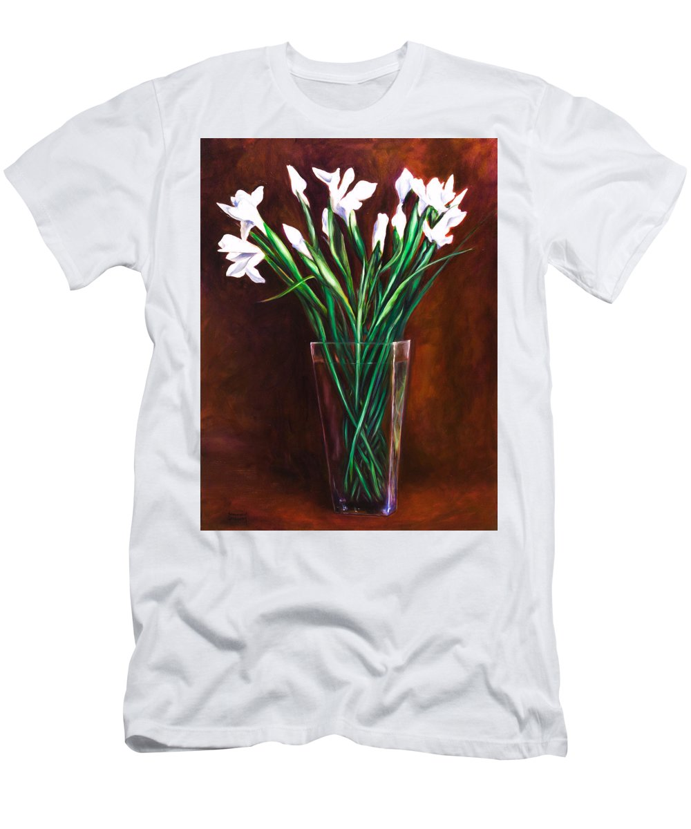 Iris Men's T-Shirt (Slim Fit) featuring the painting Simply Iris by Shannon Grissom