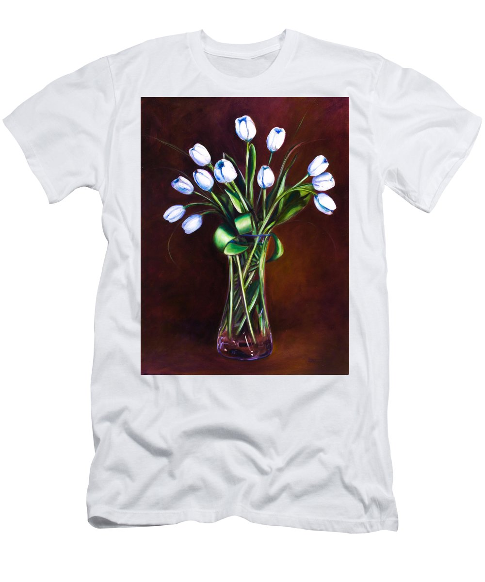 Shannon Grissom Men's T-Shirt (Slim Fit) featuring the painting Simply Tulips by Shannon Grissom