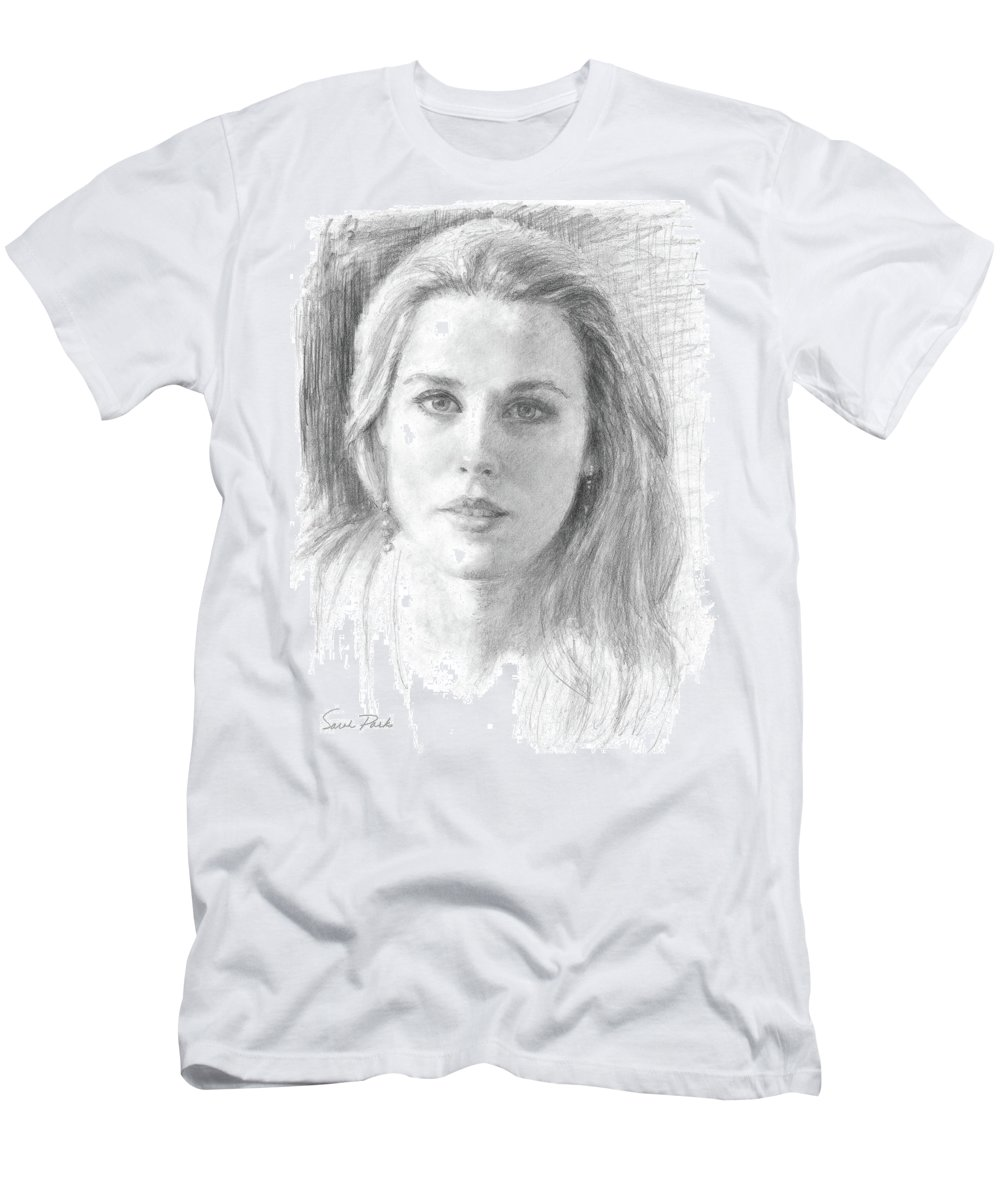 Portrait Men's T-Shirt (Athletic Fit) featuring the drawing Sincerity by Sarah Parks
