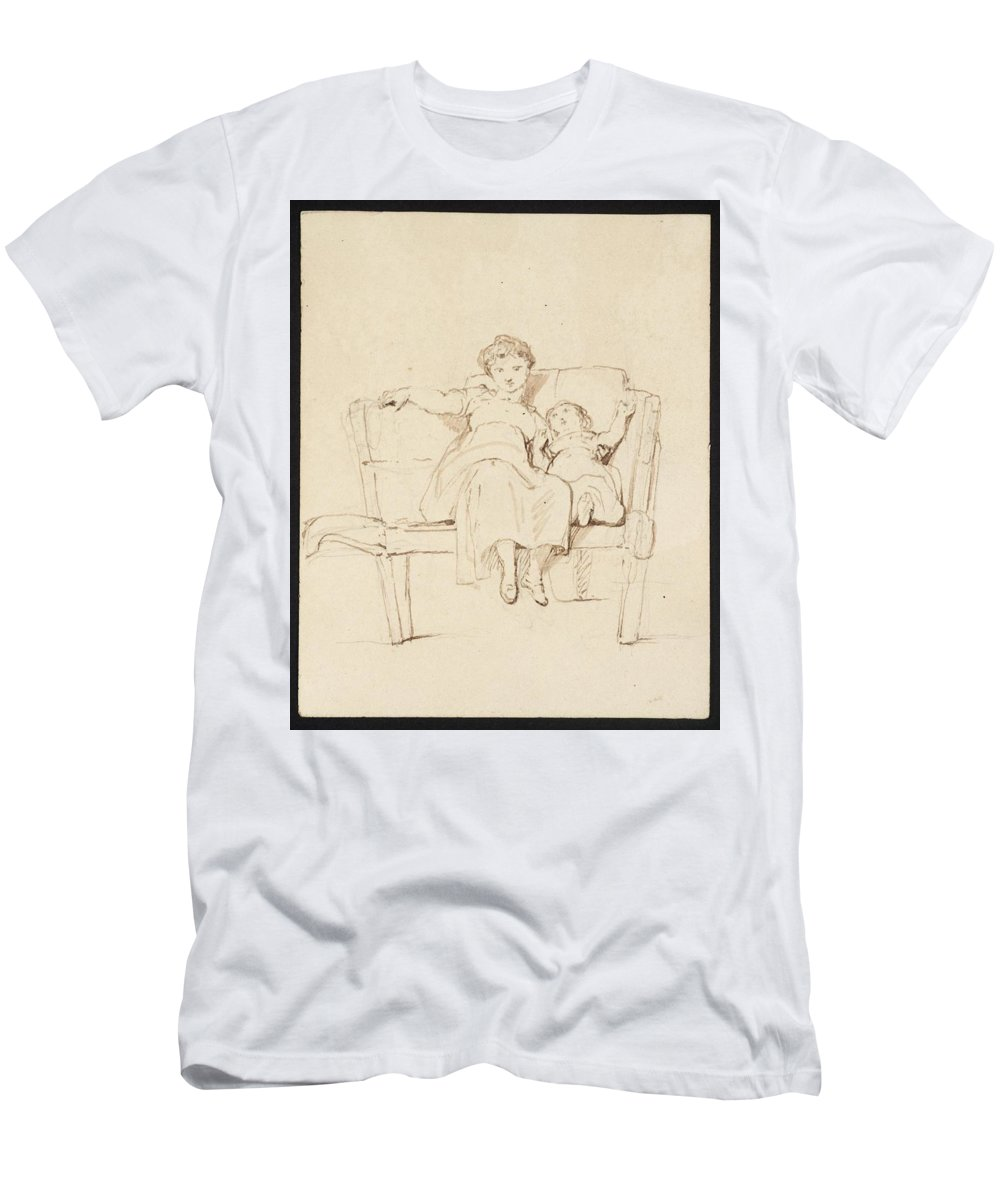 George Jones 1786�1869 Sisters Men's T-Shirt (Athletic Fit) featuring the painting Sisters by MotionAge Designs