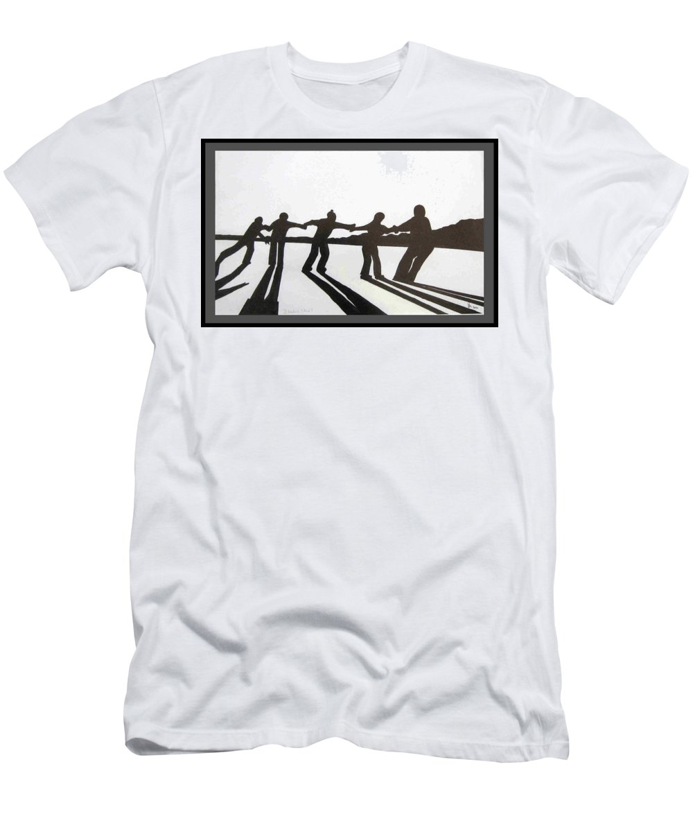 Skaters Men's T-Shirt (Athletic Fit) featuring the drawing Skaters by Dragica Micki Fortuna