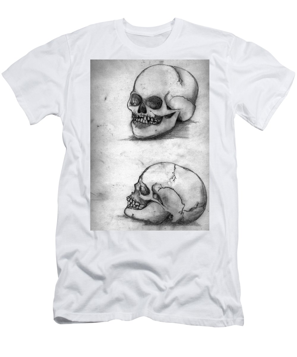 Skull Men's T-Shirt (Athletic Fit) featuring the drawing Skull Drawing by Alban Dizdari