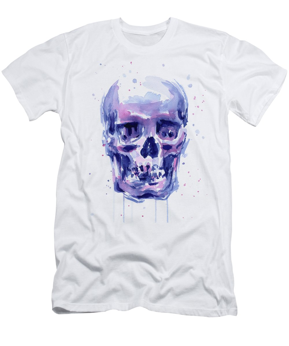 Skull Men's T-Shirt (Athletic Fit) featuring the painting Skull Watercolor by Olga Shvartsur