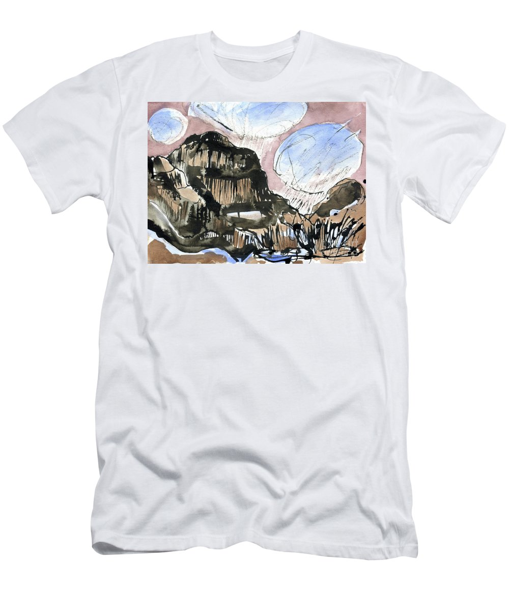 Skye Snow Clouds - Cuillin Ridge - Original Watercolour Painting - Mountain Landscape - Isle Of Skye - Fine Art - Elizabethafox - Skye Series 1 Men's T-Shirt (Athletic Fit) featuring the painting Skye Snow Clouds by Elizabetha Fox