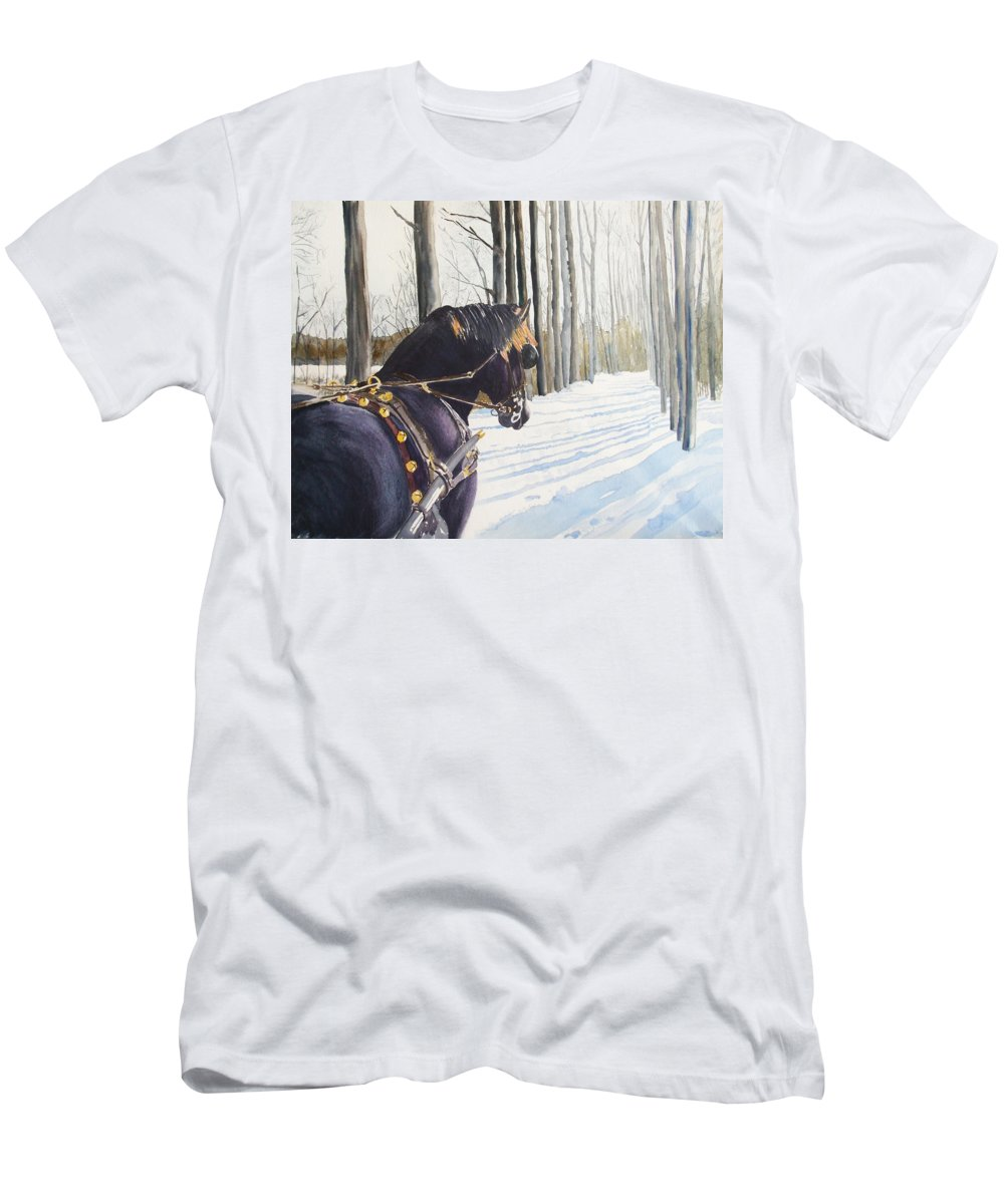 Horse Men's T-Shirt (Athletic Fit) featuring the painting Sleigh Bells by Ally Benbrook