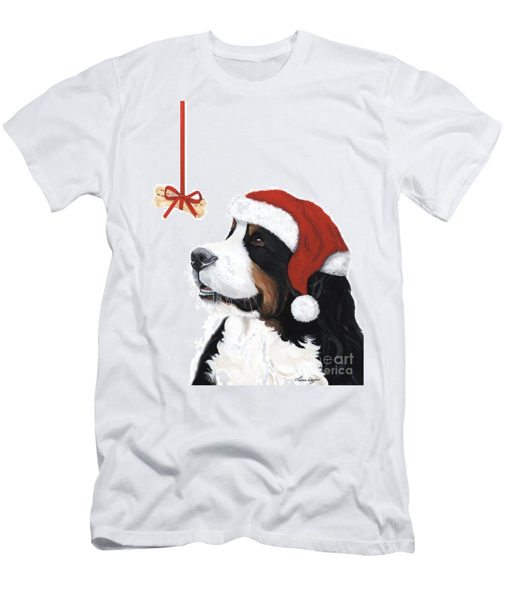 Bernese Mountain Dog Men's T-Shirt (Athletic Fit) featuring the painting Smile Its Christmas by Liane Weyers