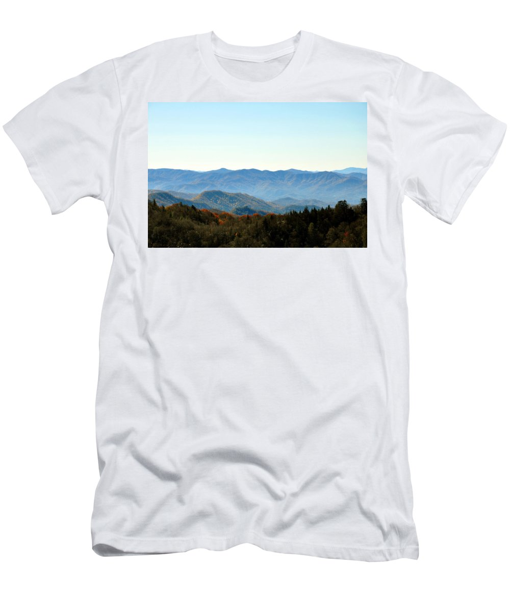 Smokey Mountain Men's T-Shirt (Athletic Fit) featuring the photograph Smokey Mountains by Brittany Horton
