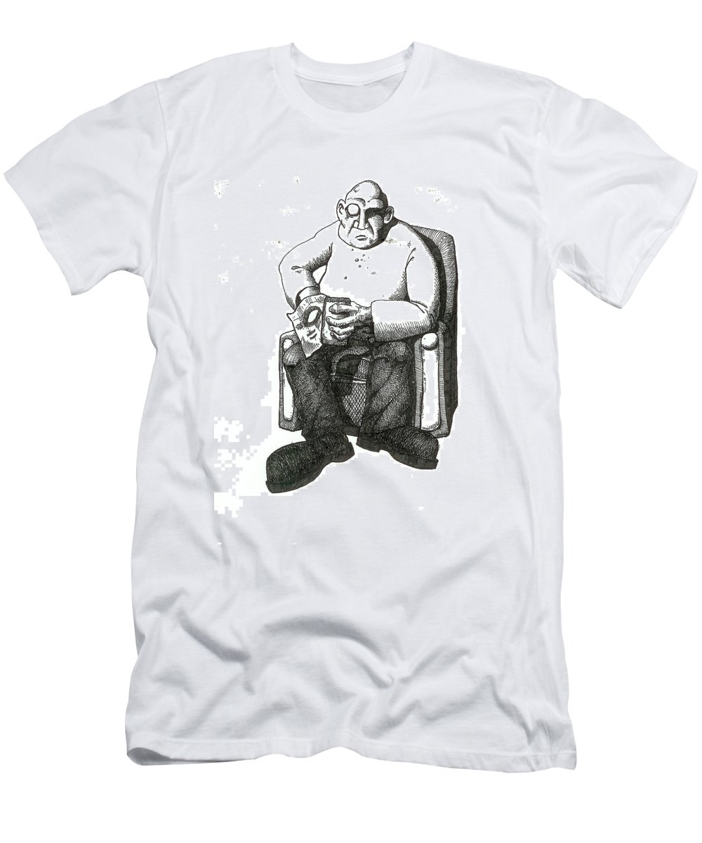 Buddha Men's T-Shirt (Athletic Fit) featuring the drawing Snacks by Tobey Anderson