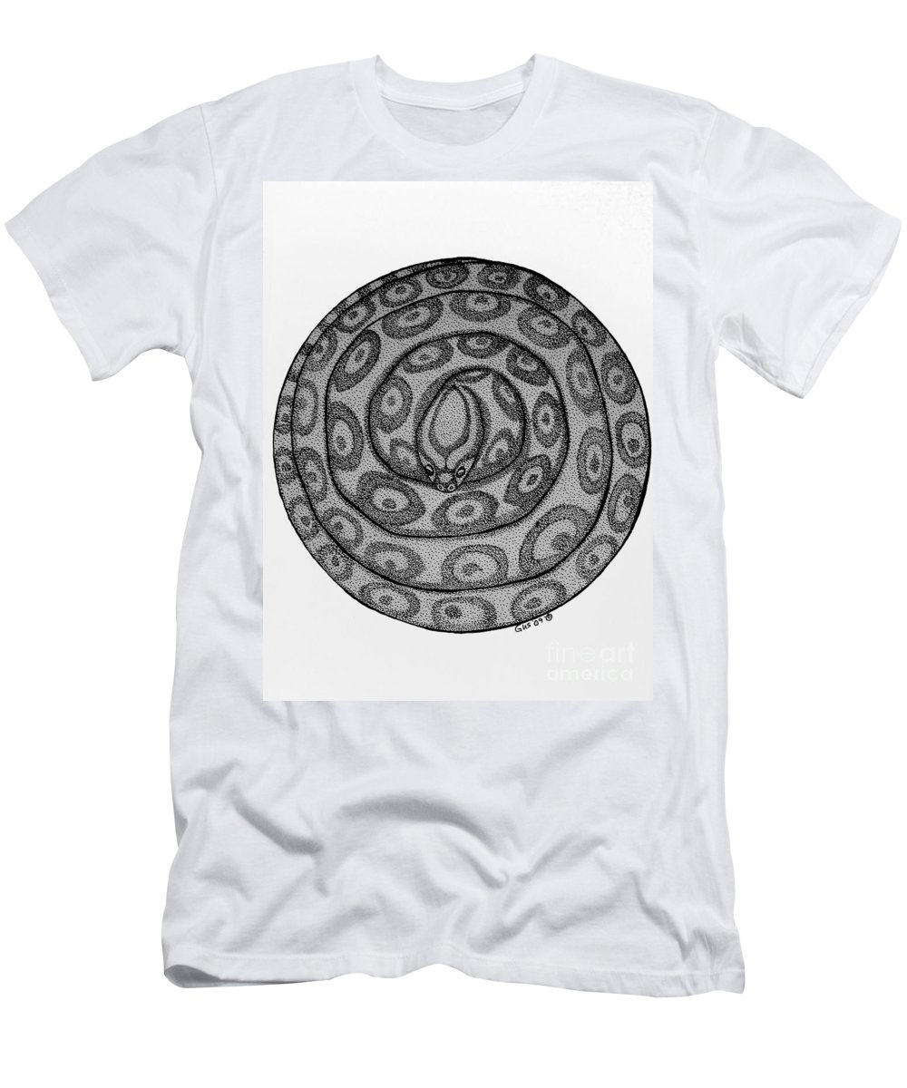 Animal Men's T-Shirt (Athletic Fit) featuring the drawing Snake Ball by Nick Gustafson
