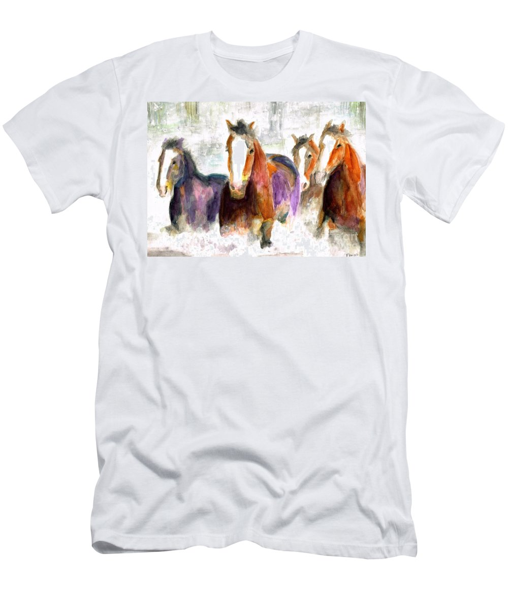 Horses Men's T-Shirt (Athletic Fit) featuring the painting Snow Horses by Frances Marino