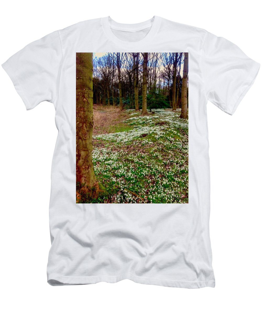 Snowdrops Men's T-Shirt (Athletic Fit) featuring the photograph Snowdrop Woods by Joan-Violet Stretch