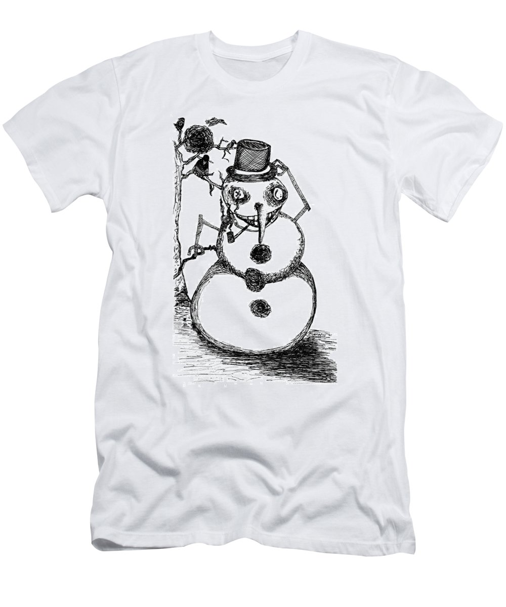 Sketchbook Project Men's T-Shirt (Athletic Fit) featuring the drawing Snowman by Michael Mooney