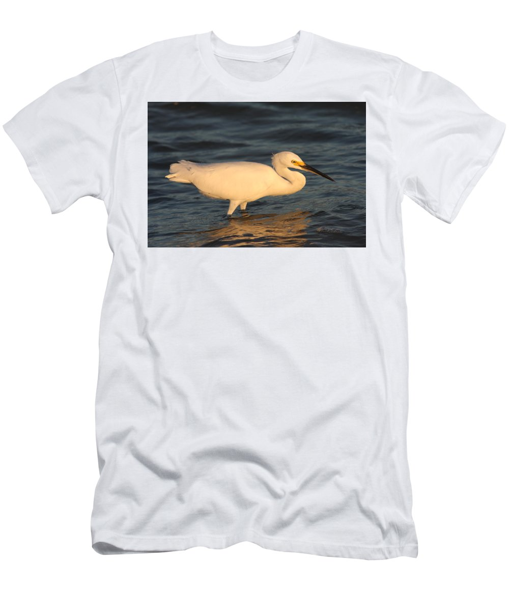 Egret Men's T-Shirt (Athletic Fit) featuring the photograph Snowy Egret By Sunset by Christiane Schulze Art And Photography