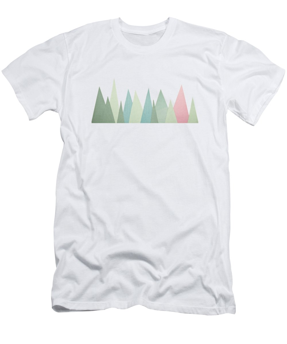 Snowy Mountains Men's T-Shirt (Athletic Fit) featuring the mixed media Snowy Mountains by Cassia Beck