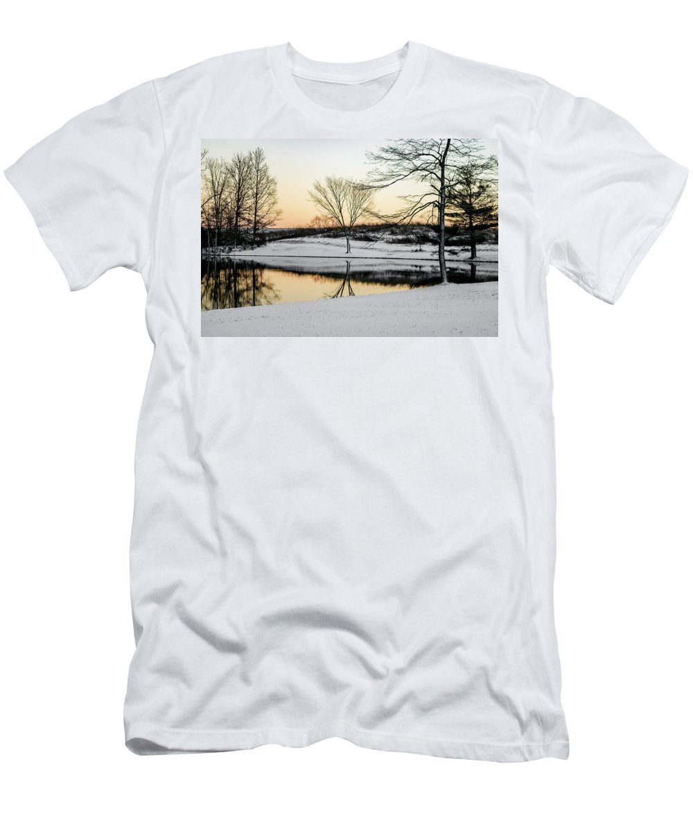 Snow Men's T-Shirt (Athletic Fit) featuring the photograph Snowy Sunset by Heather Moore