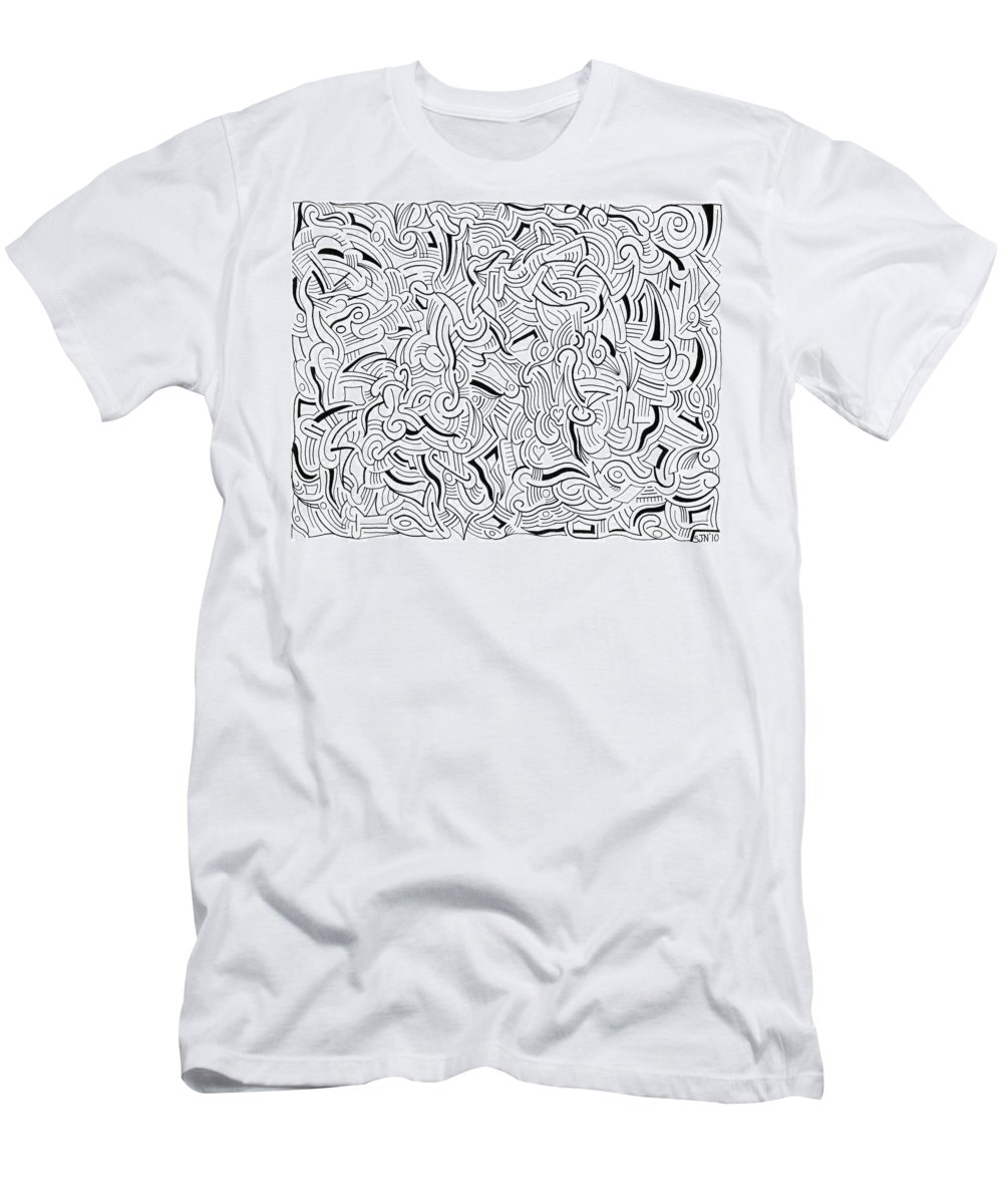 Abstract Men's T-Shirt (Athletic Fit) featuring the drawing So Close Yet So Far by Steven Natanson