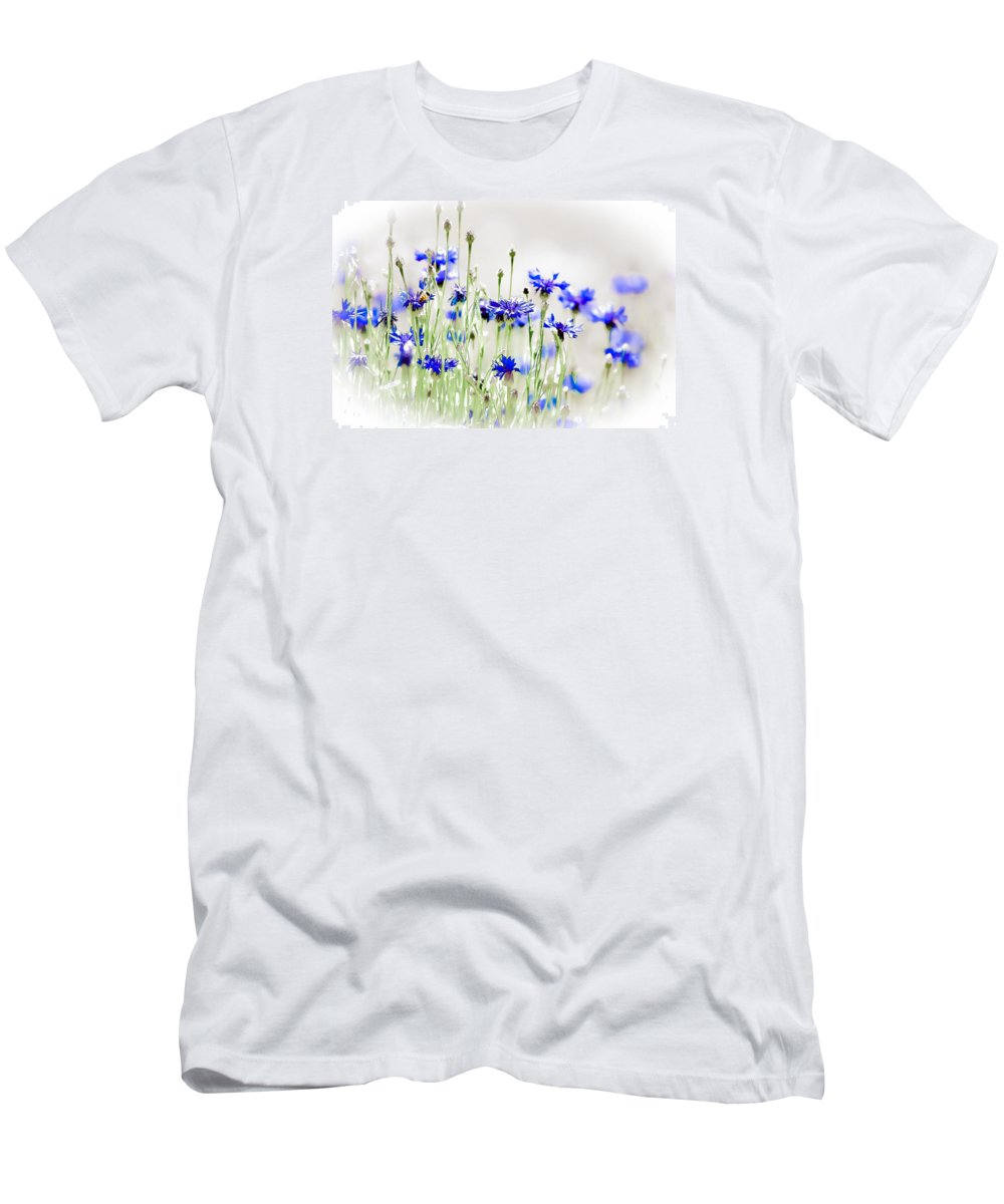 Susaneileenevans Men's T-Shirt (Athletic Fit) featuring the photograph So Many Flowers, So Little Time by Susan Eileen Evans