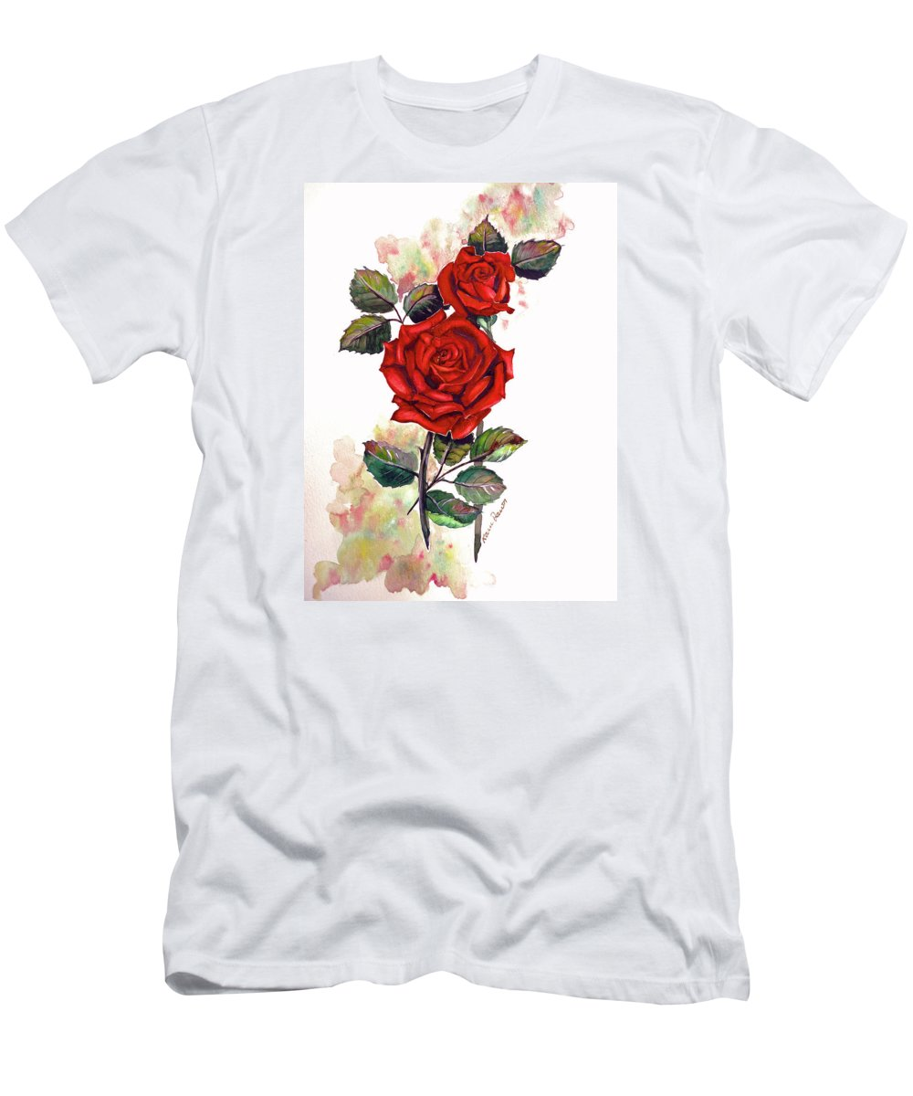 Red Rose Paintings Men's T-Shirt (Athletic Fit) featuring the painting So Red by Karin Dawn Kelshall- Best