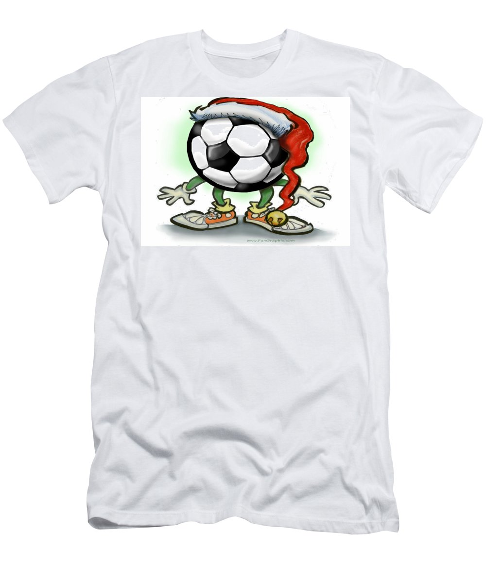 Soccer Men's T-Shirt (Athletic Fit) featuring the greeting card Soccer Christmas by Kevin Middleton
