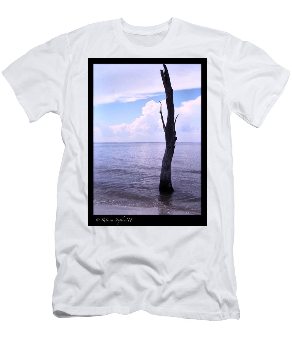 Jekyll Island Men's T-Shirt (Athletic Fit) featuring the photograph Solitude At Sea by Rebecca Stephens
