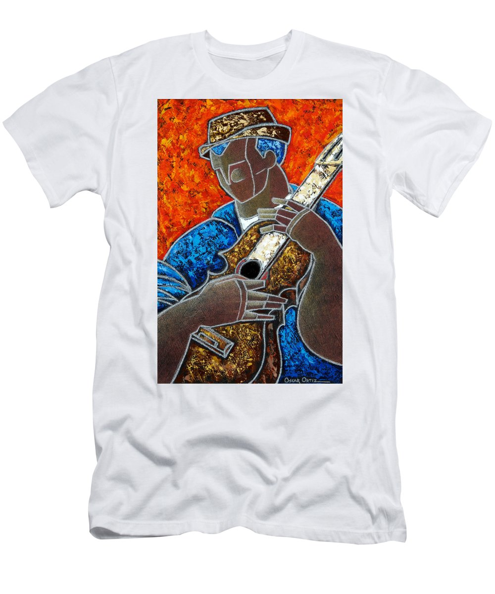 Puerto Rico Men's T-Shirt (Athletic Fit) featuring the painting Solo De Cuatro by Oscar Ortiz