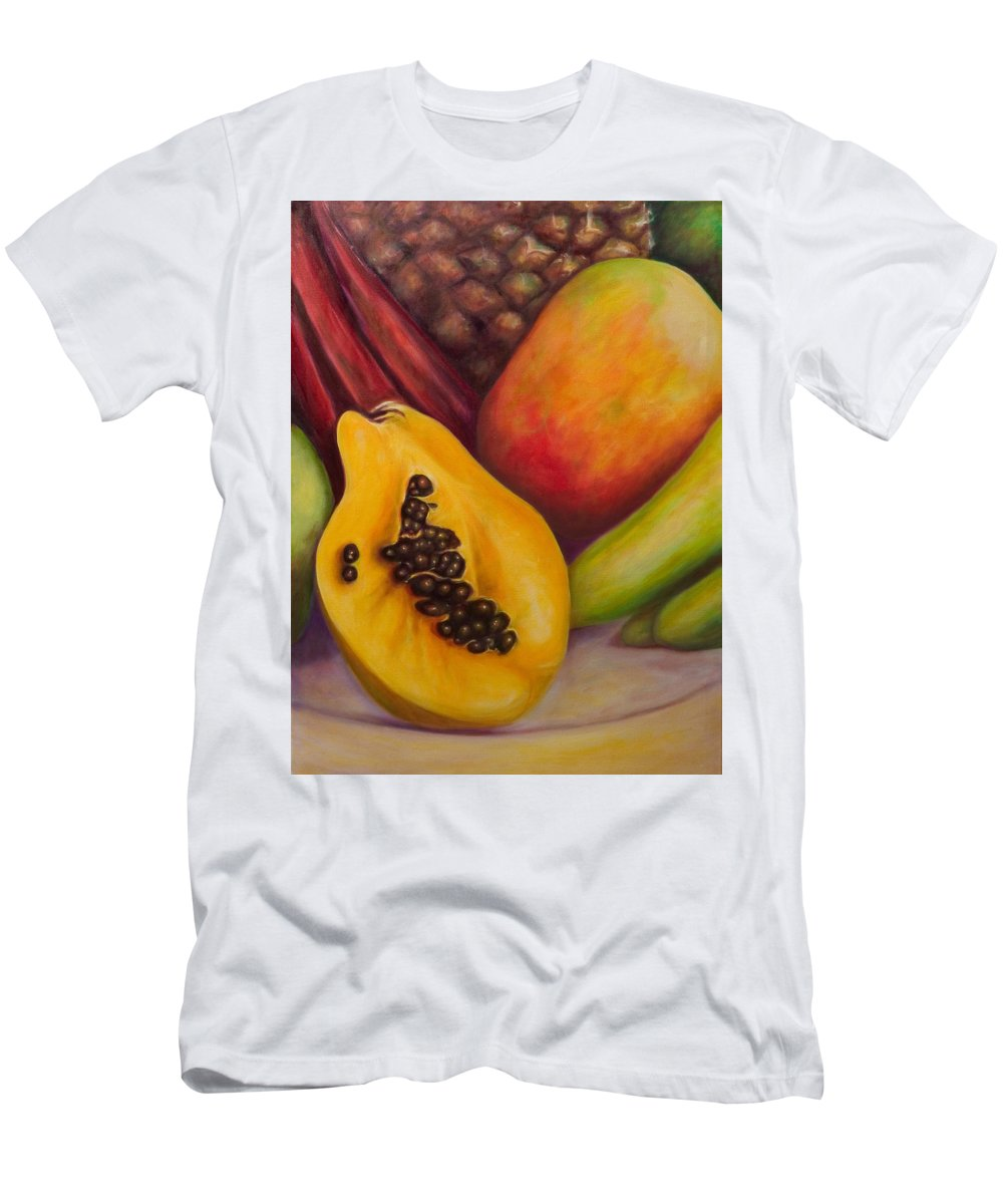 Tropical Fruit Still Life: Mangoes Men's T-Shirt (Slim Fit) featuring the painting Solo by Shannon Grissom