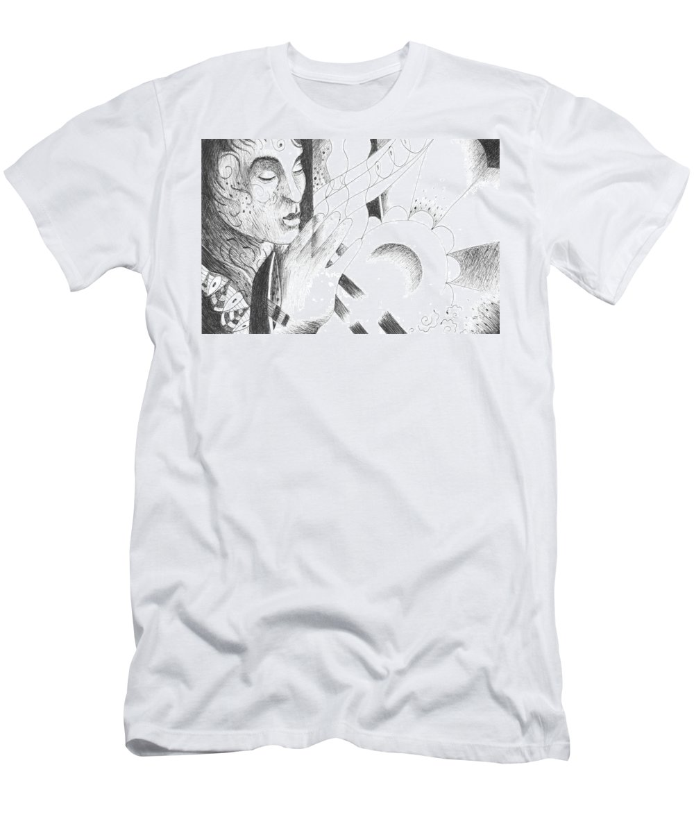 Magician Men's T-Shirt (Athletic Fit) featuring the drawing Something Out Of Nothing by Helena Tiainen