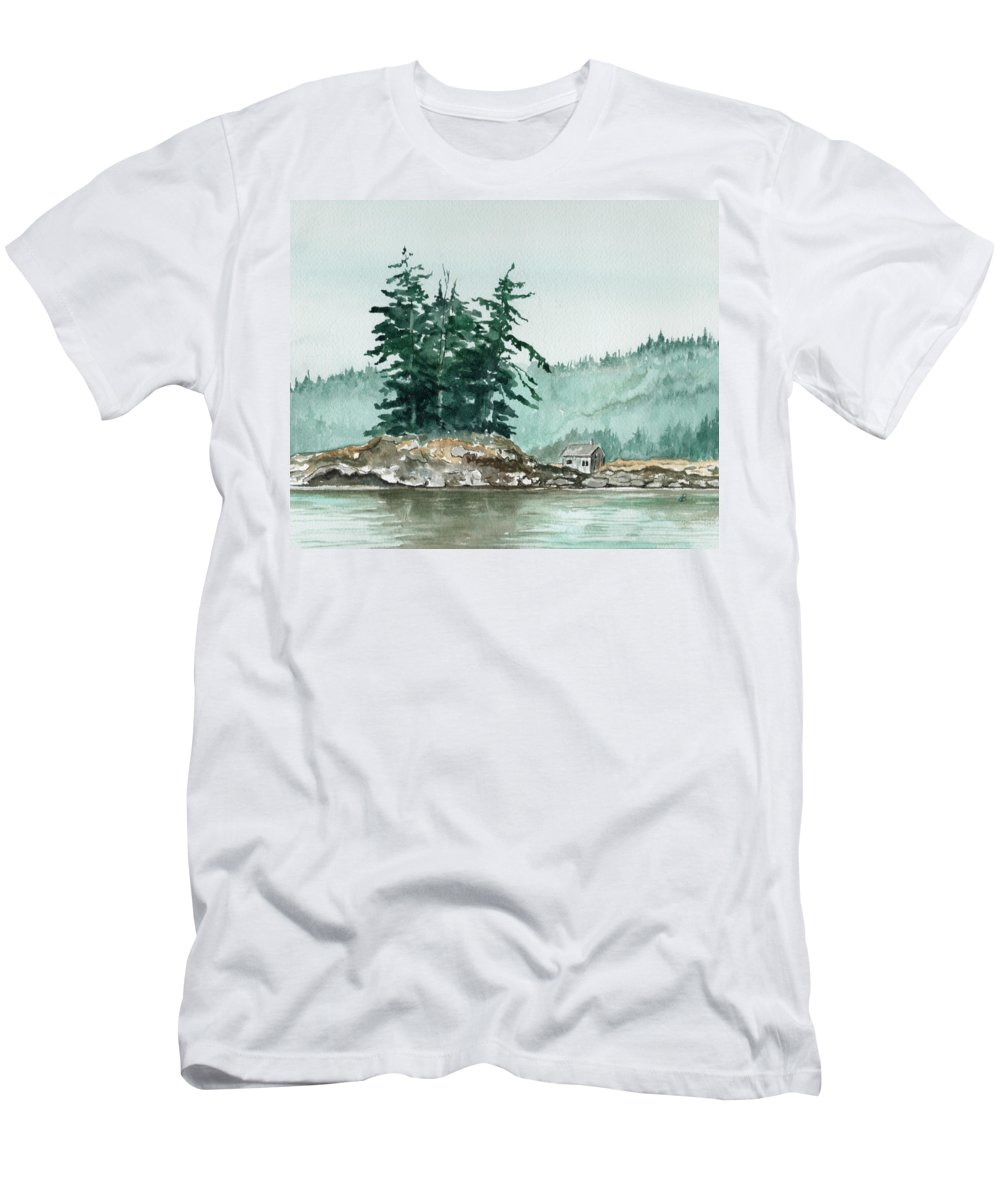 Landscape Watercolor Scenery Scenic Nature Wilderness Cabin Shack Trees Water Rural Men's T-Shirt (Athletic Fit) featuring the painting Sometimes A Great Notion by Brenda Owen