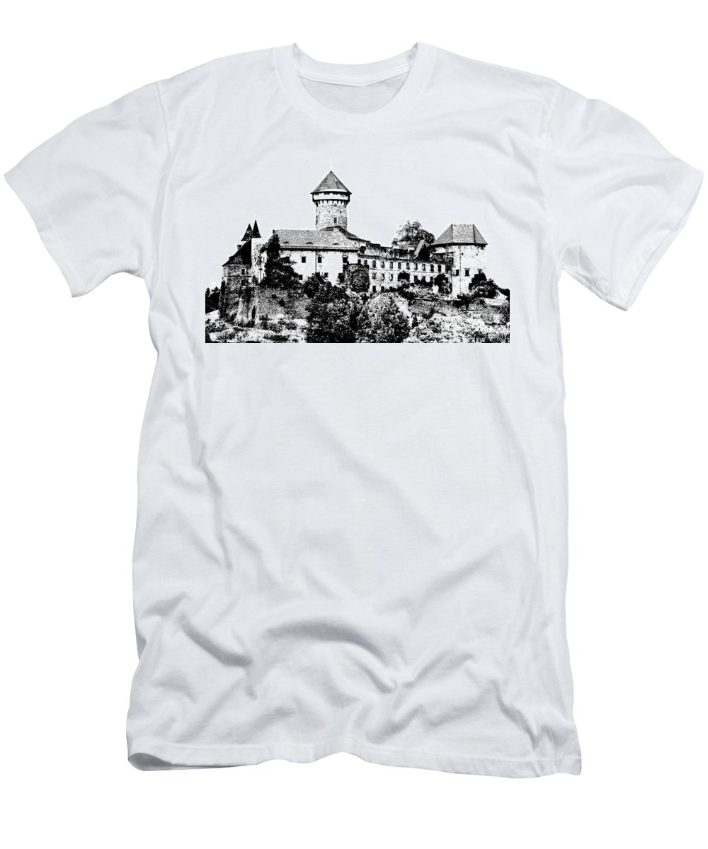 Castle Men's T-Shirt (Athletic Fit) featuring the mixed media Sovinec - Castle Of The Holy Order by Michal Boubin