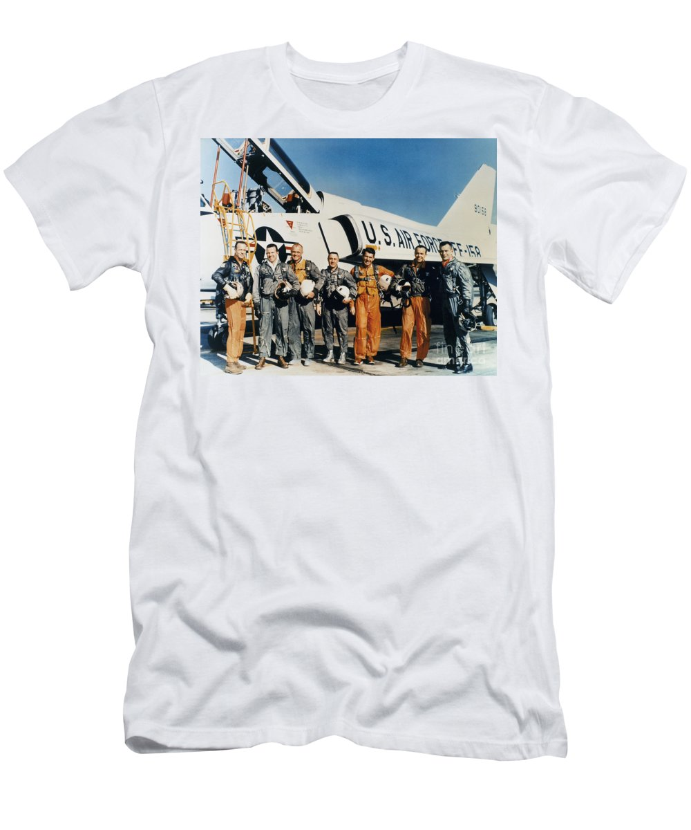 1961 Men's T-Shirt (Athletic Fit) featuring the photograph Space: Astronauts, C1961 by Granger
