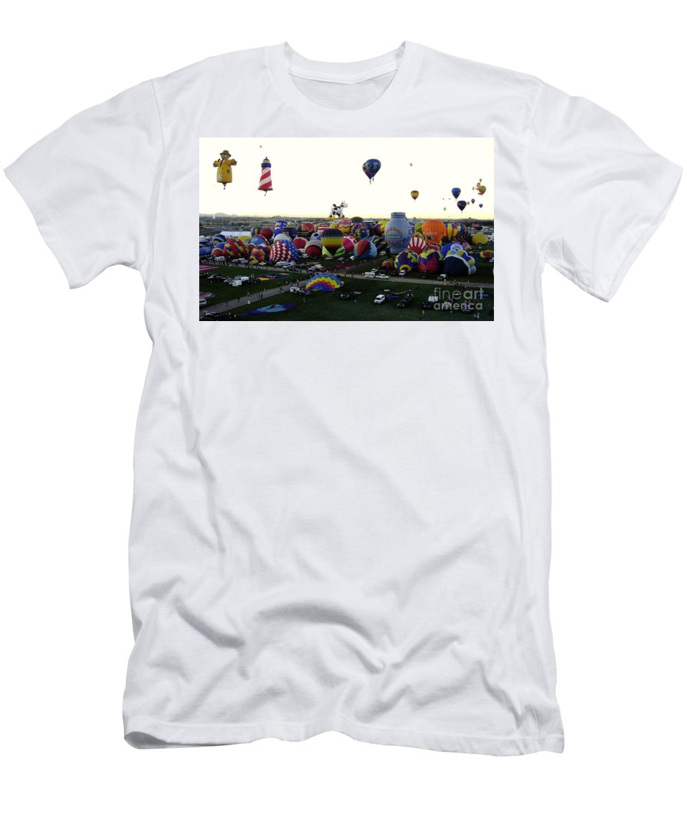 Hot Air Balloons Men's T-Shirt (Athletic Fit) featuring the photograph Special Shapes by Mary Rogers