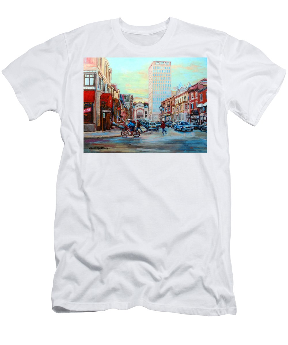 Montreal Men's T-Shirt (Athletic Fit) featuring the painting Speed Cyclist On Crescent by Carole Spandau