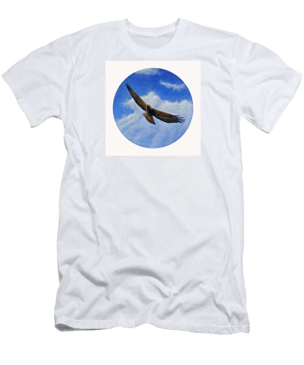 Hawk Men's T-Shirt (Athletic Fit) featuring the painting Spirit In The Wind by Brian Commerford