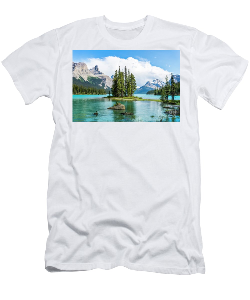 Alberta Men's T-Shirt (Athletic Fit) featuring the photograph Spirit Island, Jasper National Park by Michael Wheatley