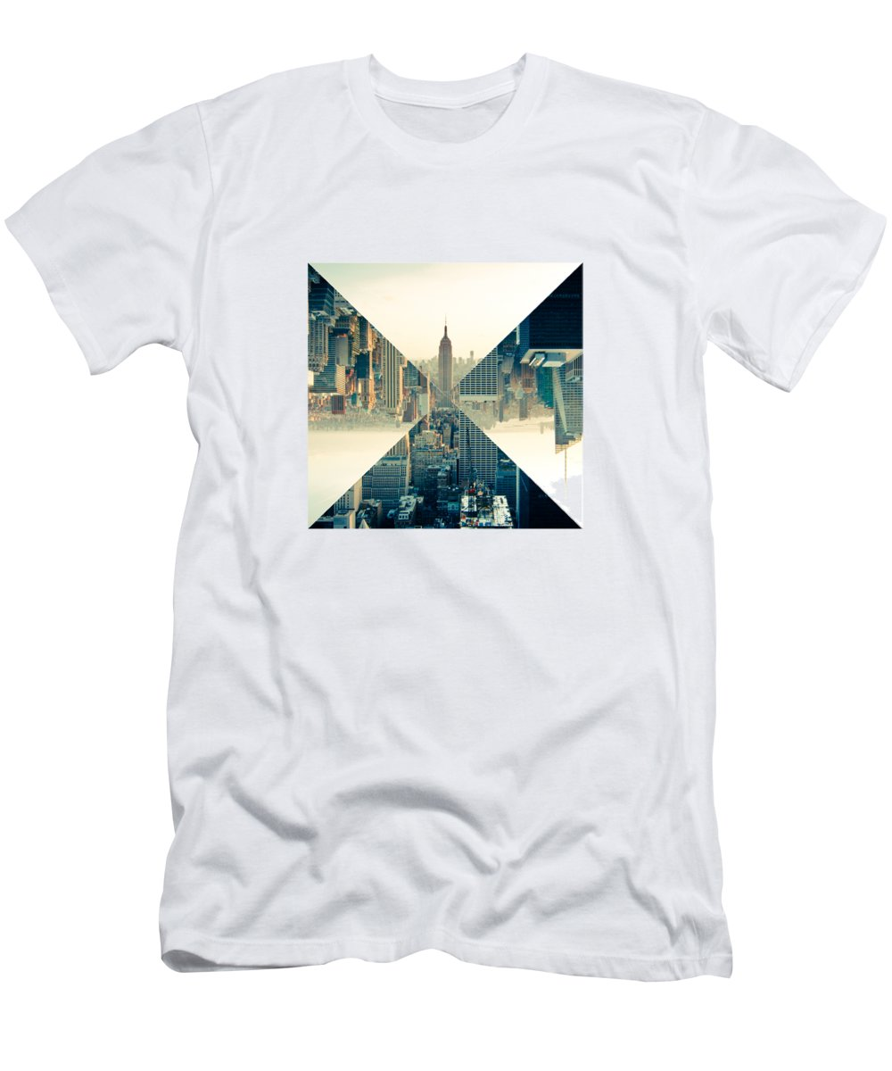 b01d7d0693f New York Men s T-Shirt (Athletic Fit) featuring the digital art Split  Skyline
