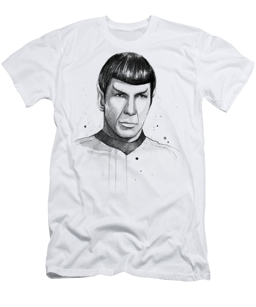 Star Trek T-Shirt featuring the painting Spock Watercolor Portrait by Olga Shvartsur