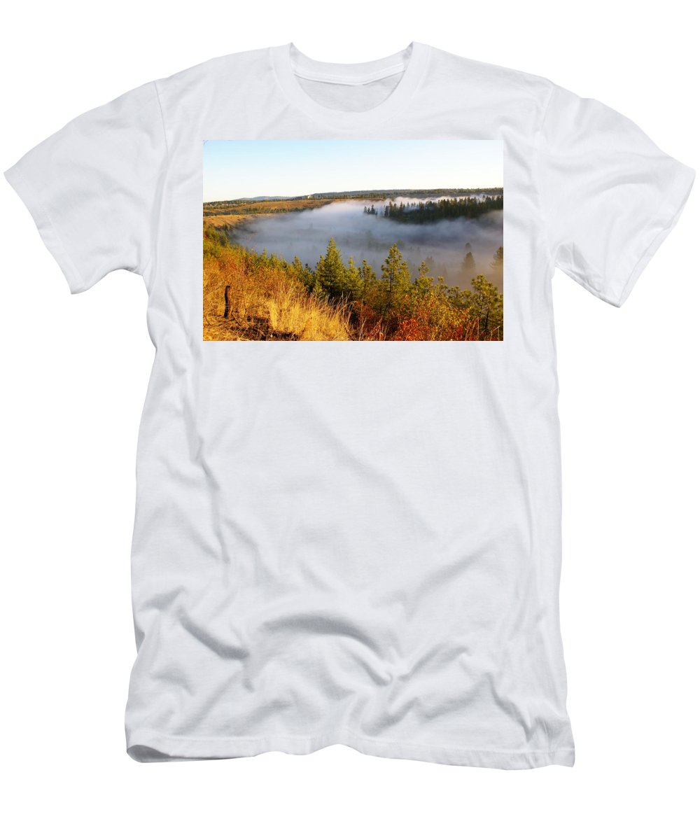 Spokane River Men's T-Shirt (Athletic Fit) featuring the photograph Spokane River Under A Misty Morning Blanket by Ben Upham III