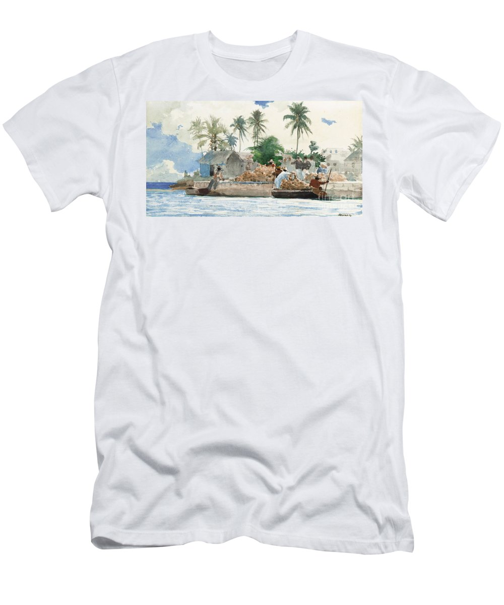 Boat Men's T-Shirt (Athletic Fit) featuring the painting Sponge Fisherman In The Bahama by Winslow Homer