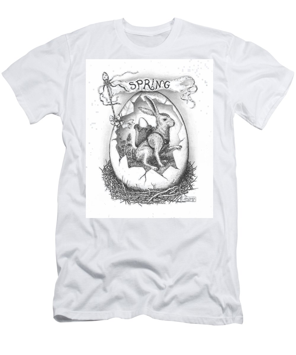 Black Men's T-Shirt (Athletic Fit) featuring the drawing Spring Arrives by Adam Zebediah Joseph