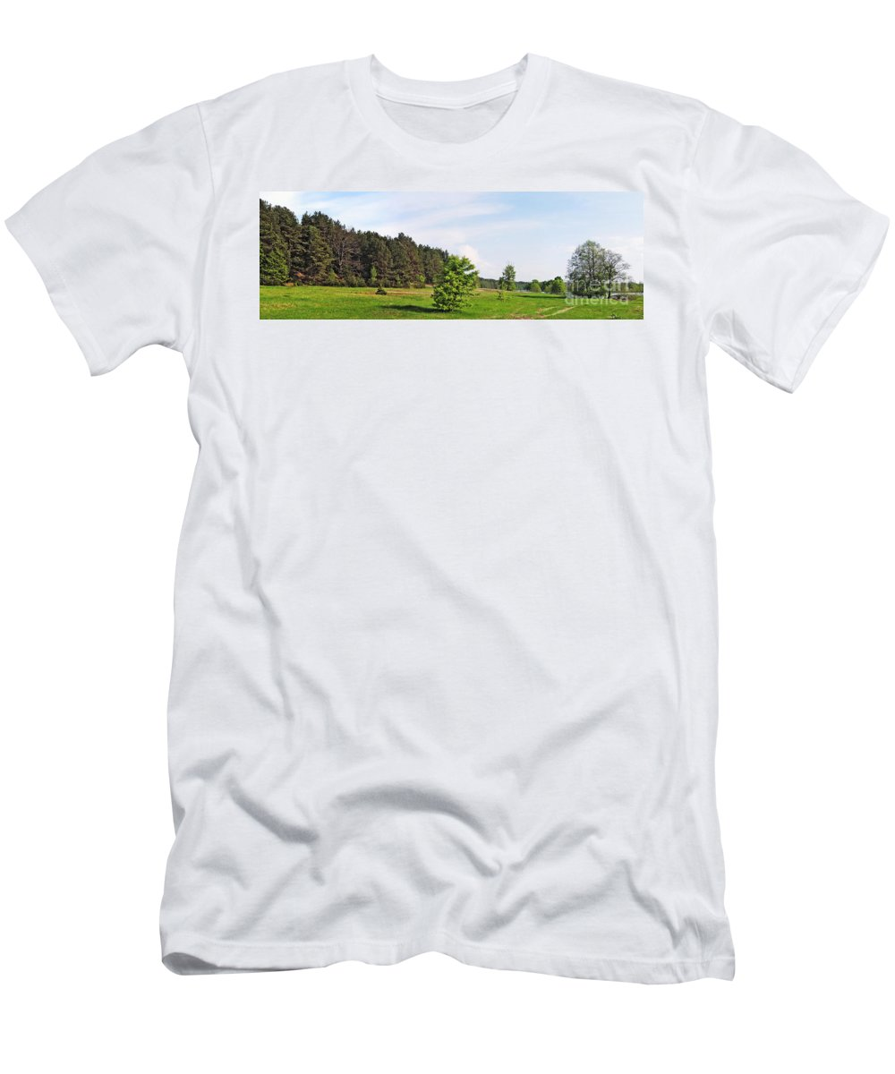 Landscape Men's T-Shirt (Athletic Fit) featuring the photograph Spring Meadow by Vadzim Kandratsenkau