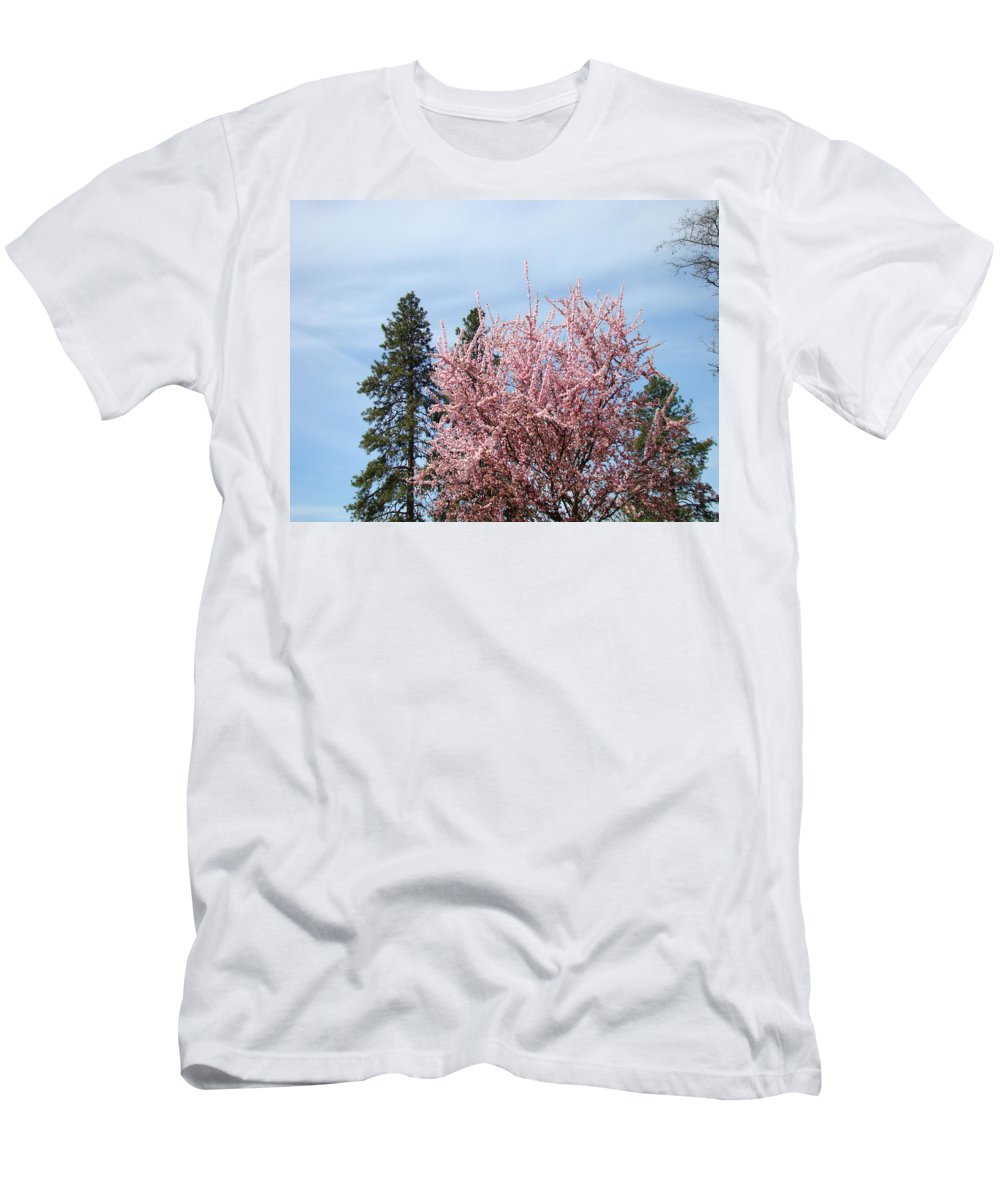 Trees Men's T-Shirt (Athletic Fit) featuring the photograph Spring Trees Bossoming Landscape Art Prints Pink Blossoms Clouds Sky by Baslee Troutman