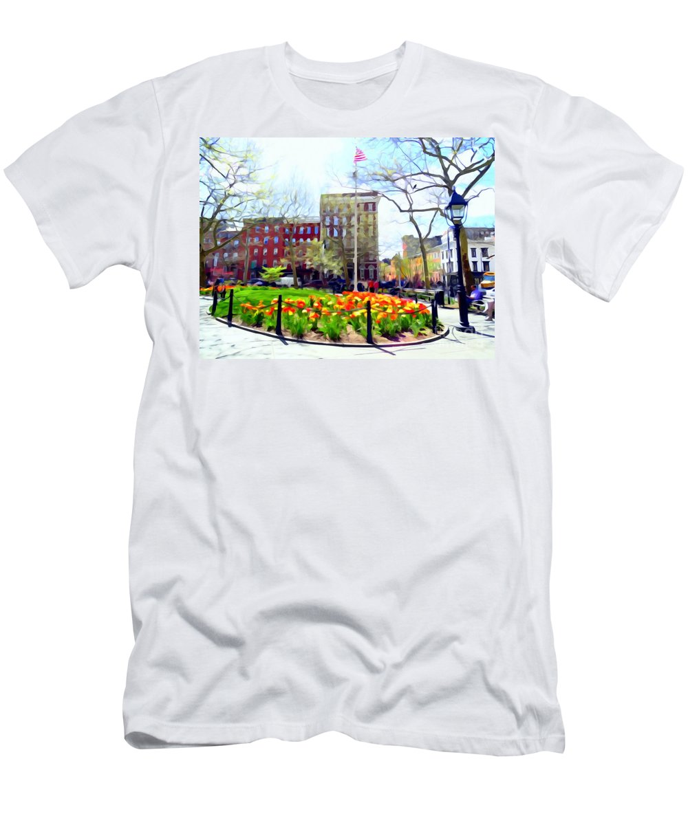 Digital Art Men's T-Shirt (Athletic Fit) featuring the photograph Springtime At Abingdon Square Park #2 by Ed Weidman