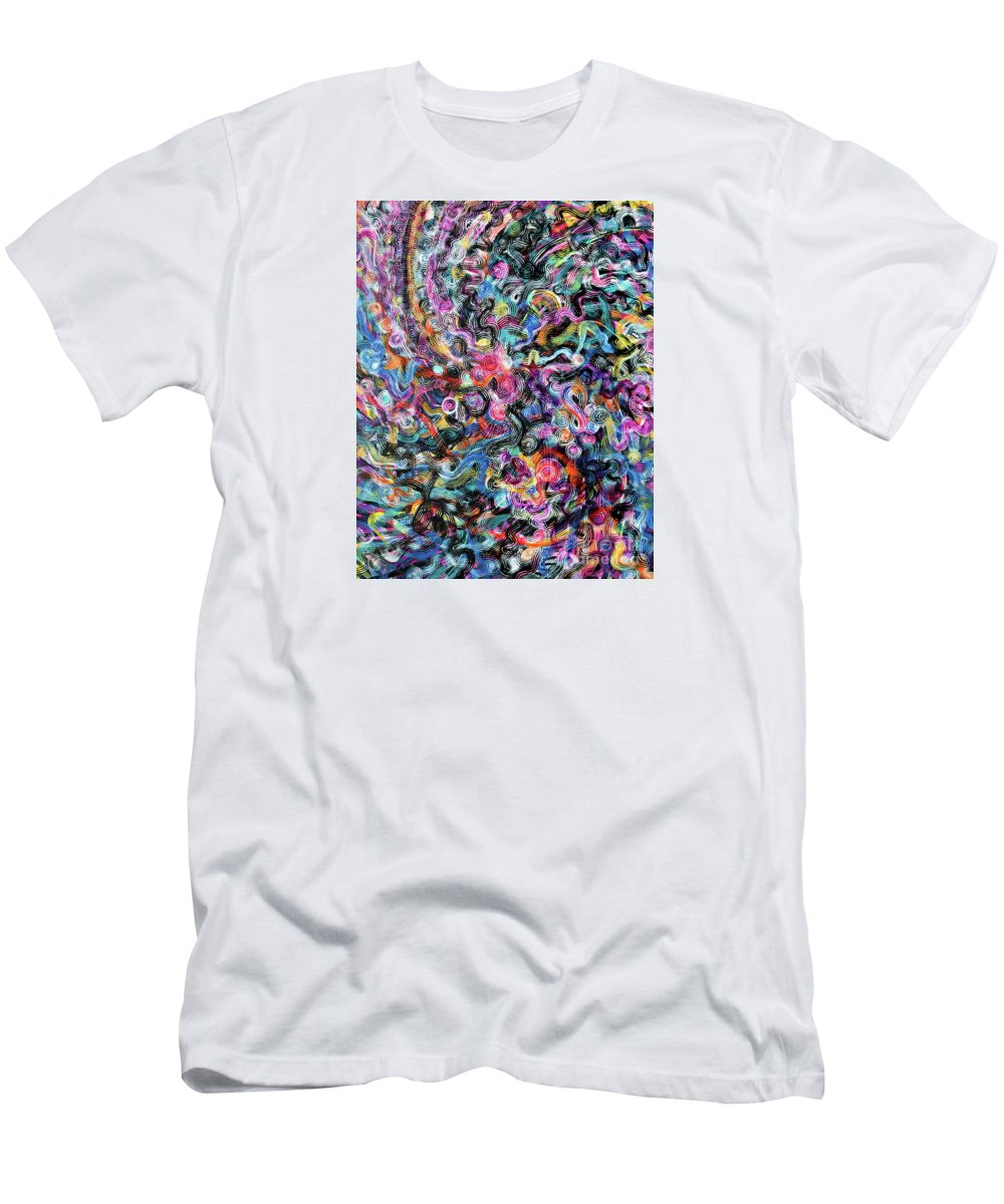Fresh Spontaneous Original Abstract Expressionist Painting Full Of Movement.exploding Colorful Like Fireworks. Full Spectrum Rainbow Colors.brilliant Vibrant Dramatic Full Of Texture. Black And White Accents.strands Jewel-toned Spiraling Threadlike Patterns. T-Shirt featuring the painting String Theory V by Priscilla Batzell Expressionist Art Studio Gallery