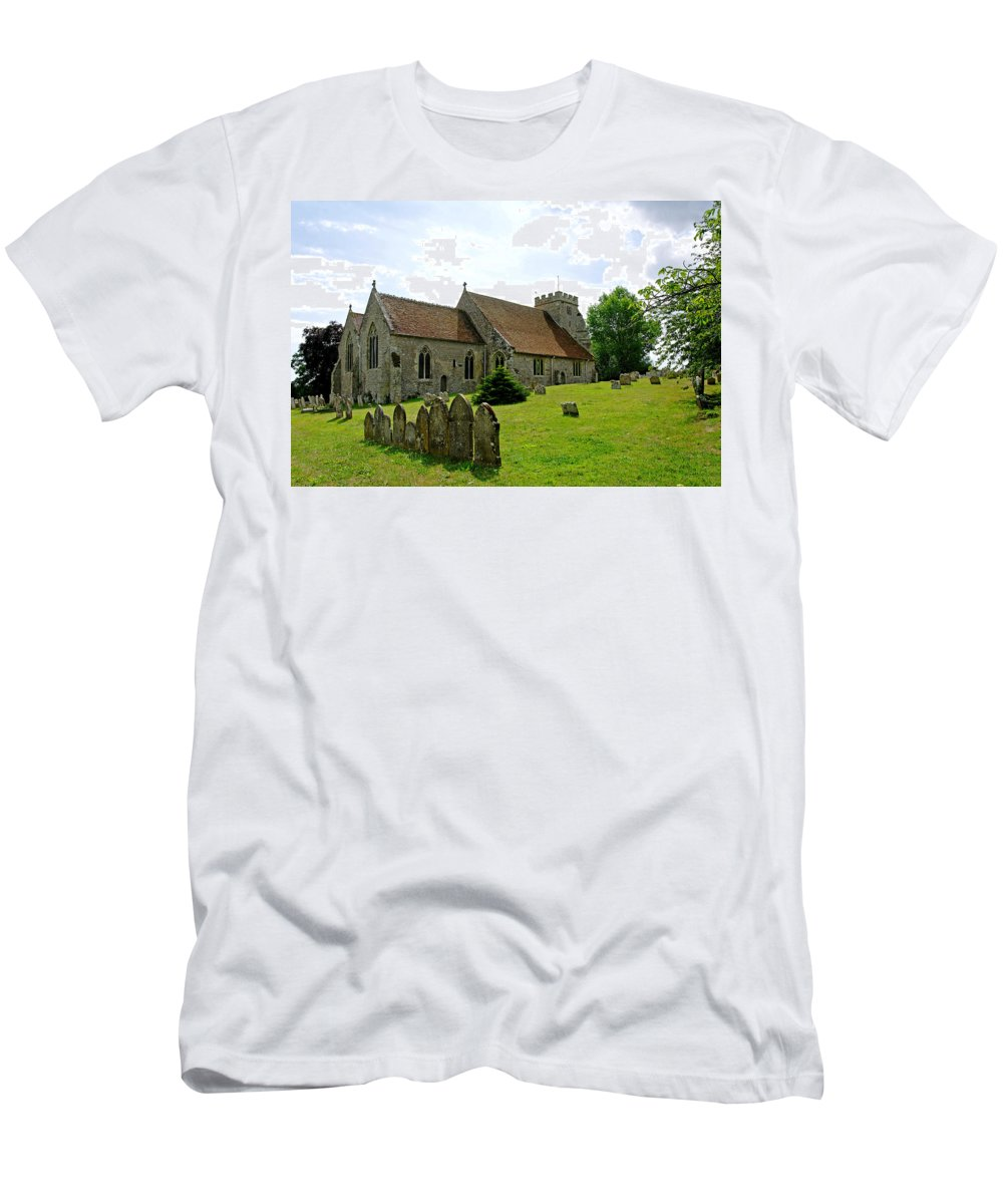 Arreton Men's T-Shirt (Athletic Fit) featuring the photograph St George's Church At Arreton by Rod Johnson