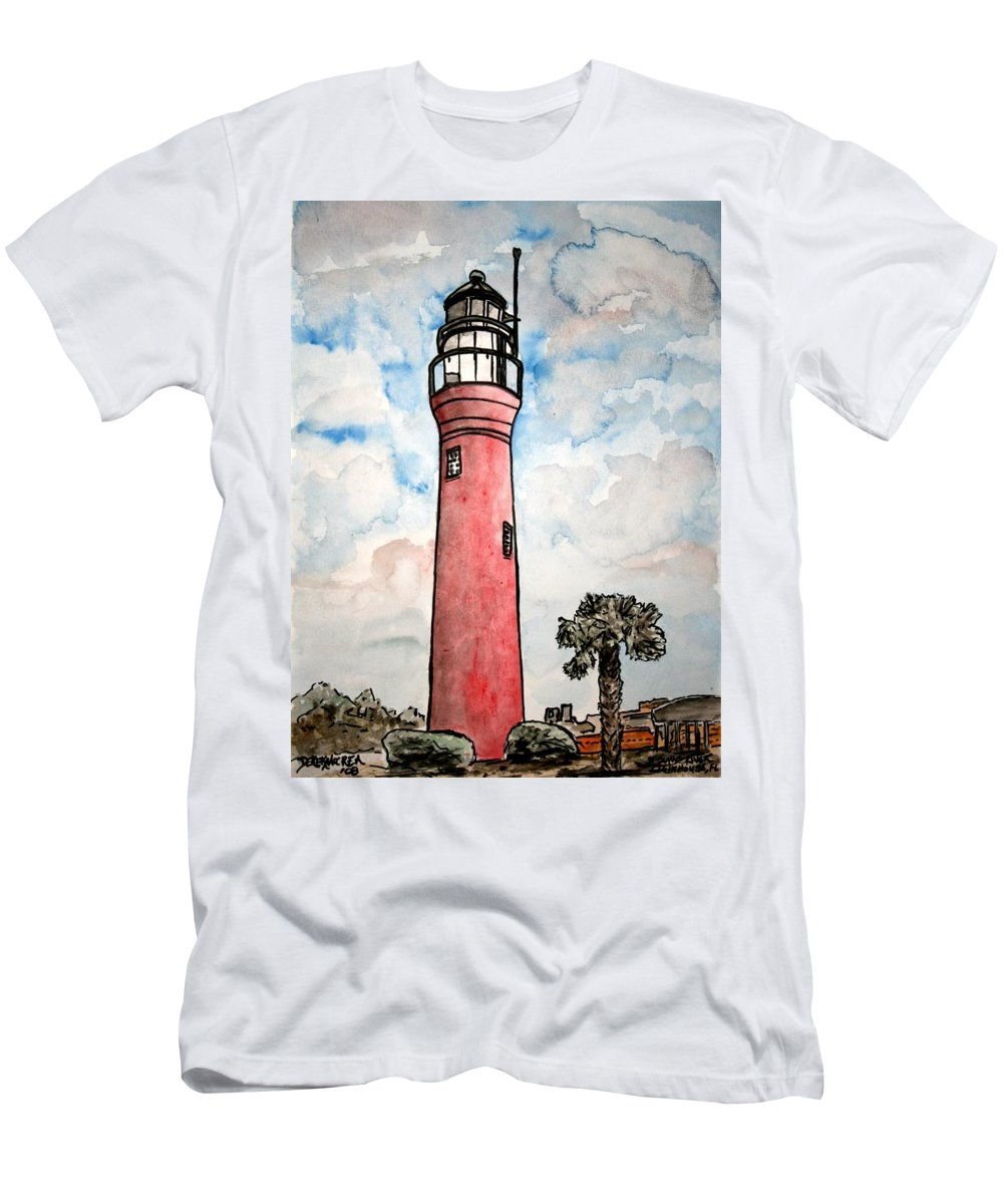 Lighthouse Men's T-Shirt (Athletic Fit) featuring the painting St Johns River Lighthouse Florida by Derek Mccrea