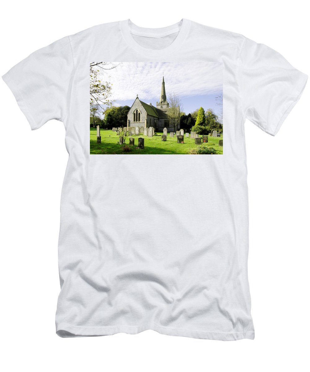 Grey Men's T-Shirt (Athletic Fit) featuring the photograph St Leonard's Church At Monyash by Rod Johnson